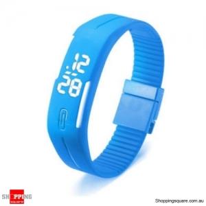 Casual Digital LED Rectangle Sport Digital Bracelet Wrist Watch Buckle - Blue