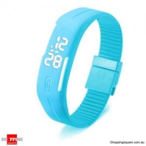 Casual Digital LED Rectangle Sport Digital Bracelet Wrist Watch Buckle - Lake Blue