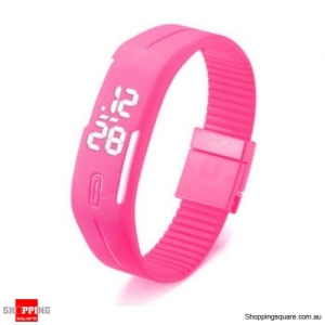 Casual Digital LED Rectangle Sport Digital Bracelet Wrist Watch Buckle - Pink