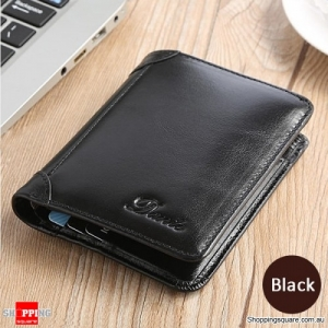 Men Genuine Leather Vintage Short Wallet Slim Card Holder - Black