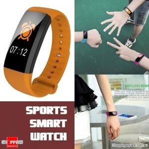 Waterproof M99 Smart Bracelet Watch for Heart Rate Blood Pressure Oxygen Anti Lost Watch Orange Colour