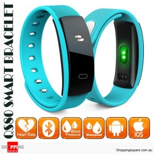 QS80 Smart Bracelet Band IP67 Waterproof with Blood Pressure Heart Rate Monitor for Sports Sleep Health Blue Colour