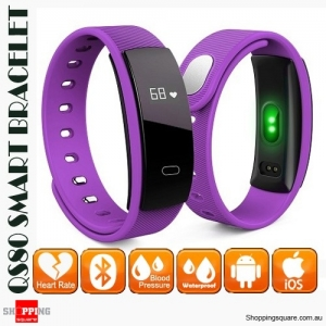 QS80 Smart Bracelet Band IP67 Waterproof with Blood Pressure Heart Rate Monitor for Sports Sleep Health Purple Colour