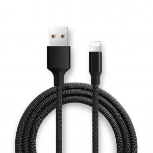 1m Braided 2A Fast Charging & Sync 8 Pin Cable for iPhone - Black