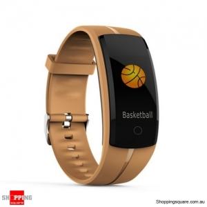 QS100 Multifunctional Bluetooth Smart Bracelet Watch Fitness Tracker - Coffee