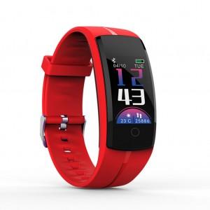 QS100 Multifunctional Bluetooth Smart Bracelet Watch Fitness Tracker - Red