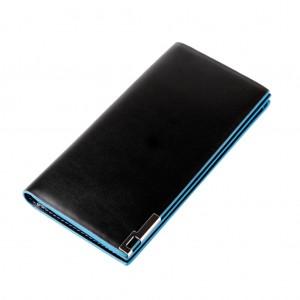 Ultra-thin PU Card Holder Money Clip Long Wallet for Men