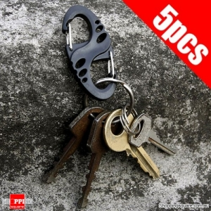 5pcs S-Shape Anti Theft Carabiner Quick Hang Buckle for Outdoor Climbing Camping Hiking Travel