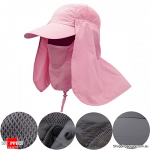 Unisex Outdoors Sun UV Flap Protective Quick Dry Hat for Fishing Hiking - Pink Colour