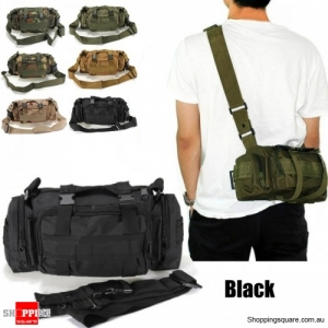 Outdoor Sports Camouflage Backpack Rucksack Camping Hiking Waist Bag Pack-Black