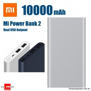 Xiaomi 10000mAh Power Bank Quick Charge 3.0 Charger 2 Dual USB for Mobile Phone - Silver