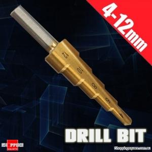 4-12mm HSS Triangle Shank Pagoda Step Drill Bit Tool