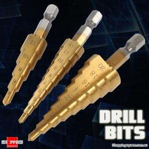 3Pcs of Step Drill Bits Titanium Coated Step Drill Bits 3-12m/4-12mm/4-20mm