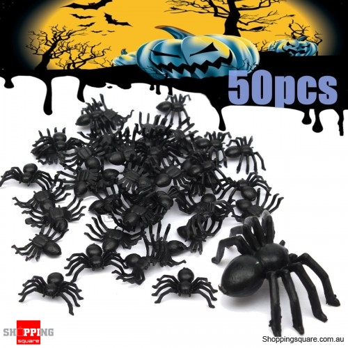 50pcs Halloween mini Plastic Spiders Spider Funny Joking Toy Decoration