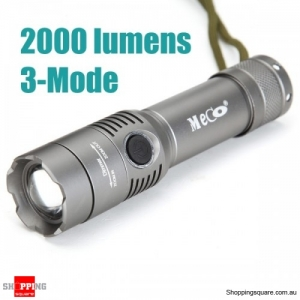 XM-L T6 2000LM 3Modes Zoomable Aluminium LED Flashlight