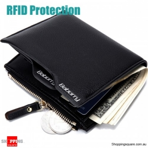 RFID Blocking Secure Wallet PU Leather 6 Card Slots Protective Short Wallet - Black