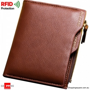 RFID Blocking Secure Wallet PU Leather 6 Card Slots Protective Short Wallet - Brown