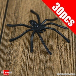 30Pcs Halloween Decorative Spiders Small Plastic Fake Spider Prank Haunted Decorations Black