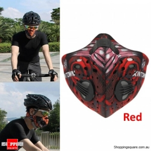 Activated Carbon Anti Dust smoke Pollution Bike Cycling Face Mask Filter - Red