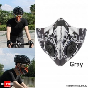 Activated Carbon Anti Dust smoke Pollution Bike Cycling Face Mask Filter - Gray