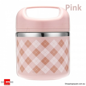 630ml Portable Stainless Steel Lunch Box Picnic Food Storage Container with spoon - Pink