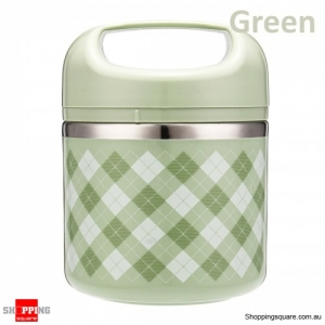 630ml Portable Stainless Steel Lunch Box Picnic Food Storage Container with spoon - Green