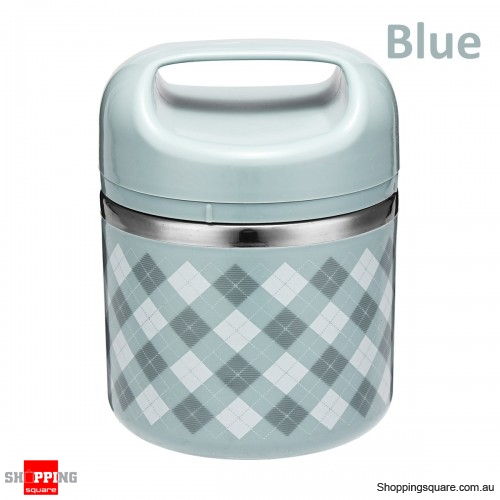 630ml Portable Stainless Steel Lunch Box Picnic Food Storage Container with spoon - Blue