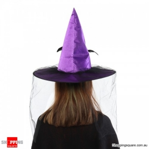 Witch Hat Spire With Veil Halloween flannel Cosplay - Purple
