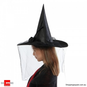 Witch Hat Spire With Veil Halloween flannel Cosplay - Black