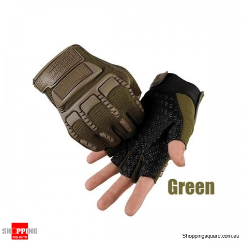 Half Finger Gloves Tactical Outdoor Antiskid Sport Cycling Motorcycle Soldier protective glove - Green
