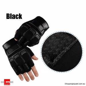 Half Finger Gloves Tactical Outdoor Antiskid Sport Cycling Motorcycle Soldier protective glove - Black