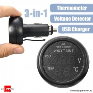 3 in 1 Car Thermometer Car Voltage Detection Table USB Port Charging