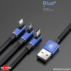 Baseus 3 in 1 Micro USB Type-C Lightning Data Charging Cable For iPhone Samsung - Blue Colour