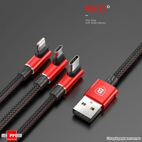 Baseus 3 in 1 Micro USB Type-C Lightning Data Charging Cable For iPhone Samsung - Red Colour