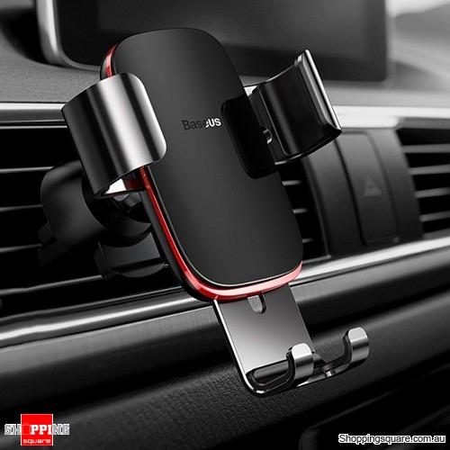 Baseus Full Aluminum Car Air Vent Gravity Auto Lock Smart Phone Holder Mount - Black