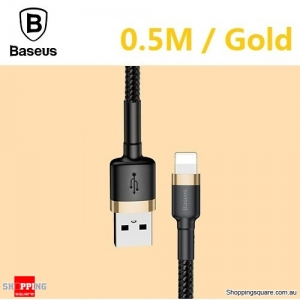 Baseus Premium 0.5M USB Data Fast Charging cable for iPhone XR XS Max X 8 7 SE Gold Colour