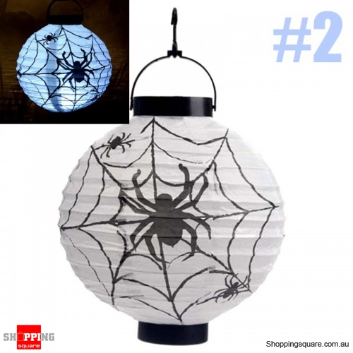 Halloween 20cm height LED Paper Lantern Pumpkin Spider Bat Lights Hanging Lamp Props Decoration Party#2