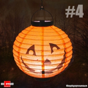 Halloween 20cm height LED Paper Lantern Pumpkin Spider Bat Lights Hanging Lamp Props Decoration Party#4
