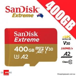 SanDisk Extreme 400GB micro SD SDXC UHS-I U3 V30 A2 160MB/s 4K Ultra HD Memory Card
