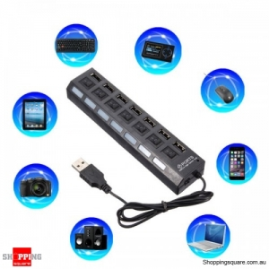 Multipurpose 7 Ports USB External HUB Splitter with Power On/Off Switch LED indicator - Black