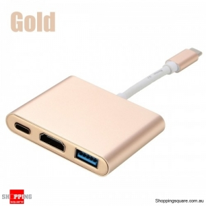UBS 3.1 Type-C to 4K HD Displays USB 3.0 HUB Charging Port Adapter Cable - Gold