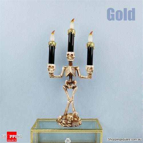 Halloween Skull Skeletal Stand LED Candles holder Decorations Lamp for Bar Party - Gold