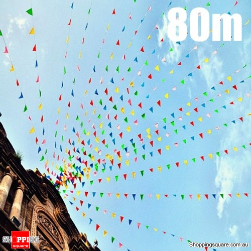 80m Triangle Assorted Color Pennant Flags String Banner Buntings Birthday Decor