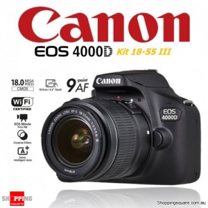 Canon EOS 4000D Kit EF-S 18-55 III DSLR Digital Camera Black