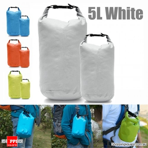 5L Waterproof Dry Bag Pouch Drift Swim Rafting Storage Pack for Camping Travelling - White