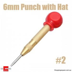 6mm Automatic Center Pin Punch Bit Spring Loaded Marking Holes Tool with Red Hat #2