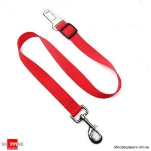 Adjustable Pet Dog Safety Car Vehicle Seat Belt Harness Lead Pet Seatbelt Nylon - Red