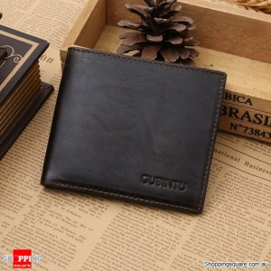 Genuine Leather RFID Blocking Men's Purse Credit Card Wallet - Coffee Colour