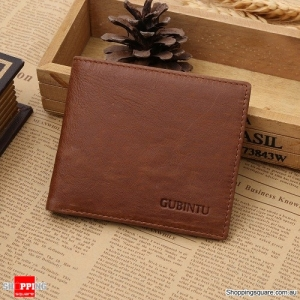 Genuine Leather RFID Blocking Men's Purse Credit Card Wallet - Brown Colour