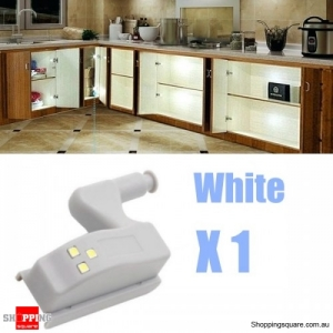 1X Battery Powered Hinge LED Night Light For Kitchen Cabinet Cupboard Closet - White 1PC